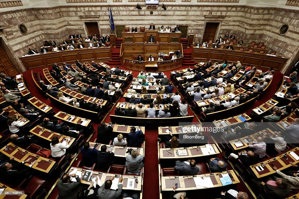 An overview of the Greek parliament is seen in Athens, Greece, on Saturday, July 11, 2015. Greek lawmakers debated Prime Minister Alexis Tsiprasâs bailout proposal into the early hours of Saturday before a weekend of political wrangling with creditors on his nationâs place in the euro. Photographer: Kostas Tsironis/Bloomberg via Getty Images