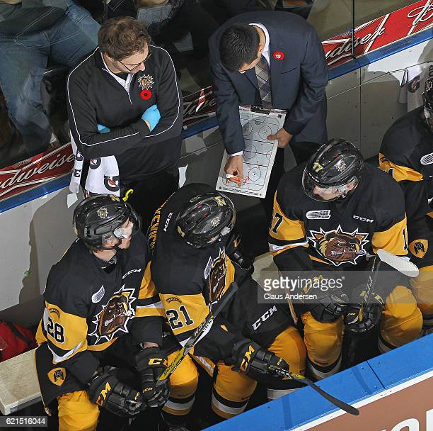 An overview of the Hamilton Bulldogs bench during action against the London Knights in an OHL game at Budweiser Gardens on November 6 2016 in London...