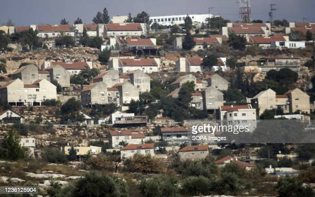 An overview of the Jewish settlement of Elon Moreh after the Israeli government approved the construction of 1,350 Israeli Jewish settlement units in...