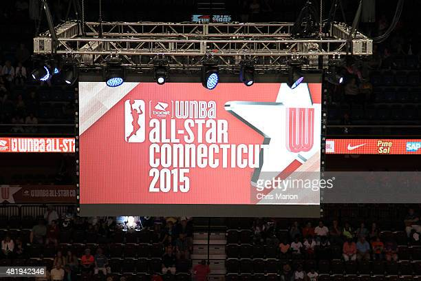 An overview of the jumbotron during the game between the Western Conference AllStars and Eastern Conference AllStars at the Boost Mobile WNBA AllStar...