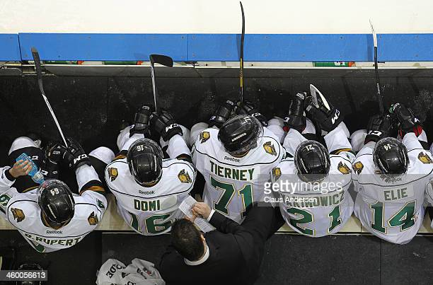 An overview of the London Knights bench against the Sarnia Sting during an OHL game at Budweiser Gardens on December 31 2013 in London Ontario Canada...