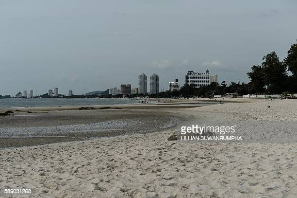 An overview of the main beach at the upscale resort town of Hua Hin on August 13 2016 A string of bomb attacks targeting Thailand's crucial tourism...