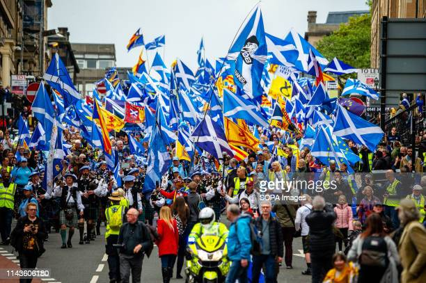 An overview of the march procession as it comes down West George Street Thousands of Scottish independence supporters marched through Glasgow as part...
