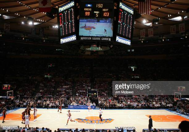 An overview of the New York Knicks playing in overtime against the Miami Heat February 9, 2005 at Madison Square Garden in New York City. NOTE TO...