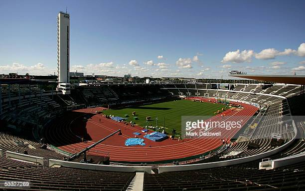 An overview of the Olympic stadium is seen on the eve of the World Athletics Championships on August 5 2005 in Helsinki Finland The World...