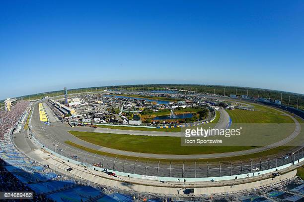 An overview of the race track during the 18th annual Ford EcoBoost 400 NASCAR Sprint Cup Series race on November 20 at the HomesteadMiami Speedway in...