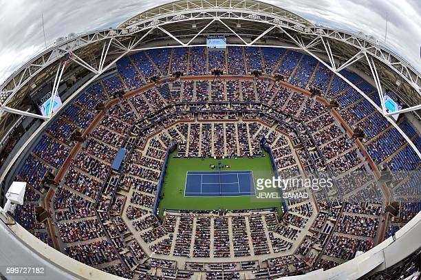An overview of the stadium is pictured as Gael Monfils of France plays against his compatriot Lucas Pouille during their 2016 US Open Mens Singles...