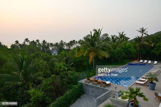 An overview of the swimming pool at W Goa on December 8 2016 in Goa India