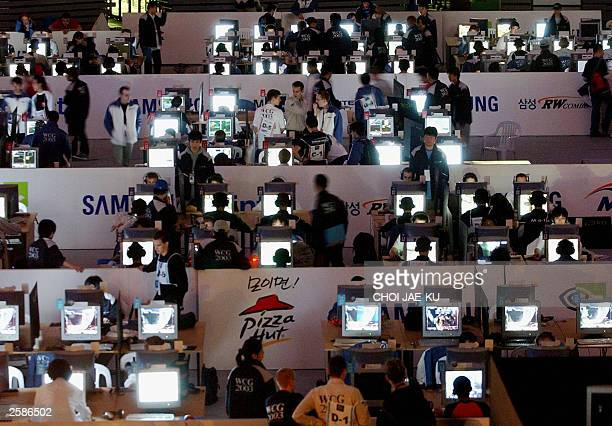 An overview of the the Wold Cyber Games being held at the Olympic park in Seoul 13 October 2003 World''s largest cyber game festival Cyber Games 2003...