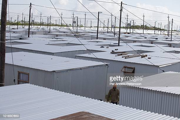 """An overview of tin houses on June 3 in Blikkiesdorp about 40 kilometers south of Cape Town, South Africa. Blikkiesdorp, which is Afrikaans for """"Tin..."""