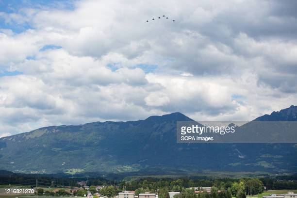 An overview of United States Air Force F-16 fighter planes flying over hospitals and Covid-19 test sites in Slovenia. Six United States Air Force...