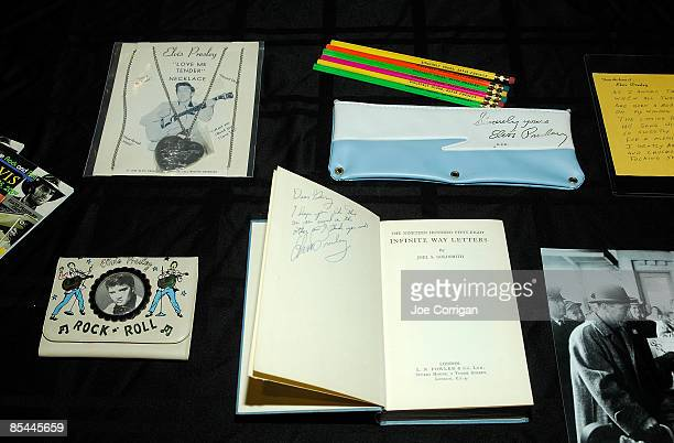 An overview of various items in 'The Elvis Presley Collection' auction at the Rock Roll Hall of Fame Annex on March 16 2009 in New York City