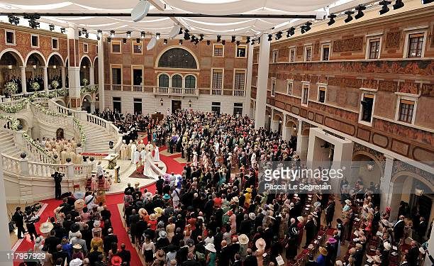 An overview on the religious ceremony of the Royal Wedding of Prince Albert II of Monaco to Charlene Wittstock in the main courtyard at Prince's...