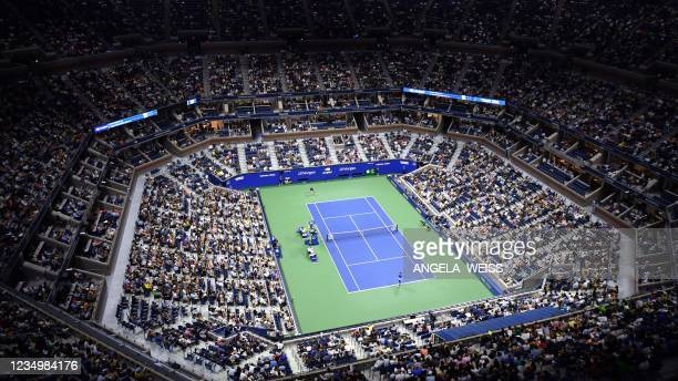 An overview shows Arthur Ashe Stadium during the 2021 US Open Tennis tournament men's singles first round match between Serbia's Novak Djokovic and...