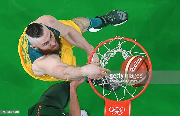 An overview shows Australia's forward Aron Baynes scoring during a Men's quarterfinal basketball match between Australia and Lithuania at the Carioca...