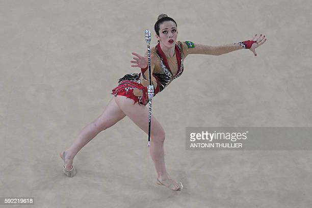 An overview shows Brazil's Natalia Azevedo Gaudio competing in the individual allaround qualifying event of the Rhythmic Gymnastics at the Olympic...
