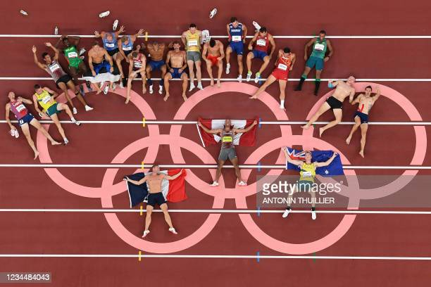 An overview shows Gold medallist Canada's Damian Warner , silver medallist France's Kevin Mayer and bronze medallist Australia's Ashley Moloney...