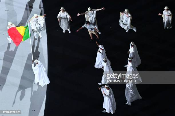 An overview shows Mali's delegation entering the Olympic Stadium during the opening ceremony of the Tokyo 2020 Olympic Games, in Tokyo, on July 23,...