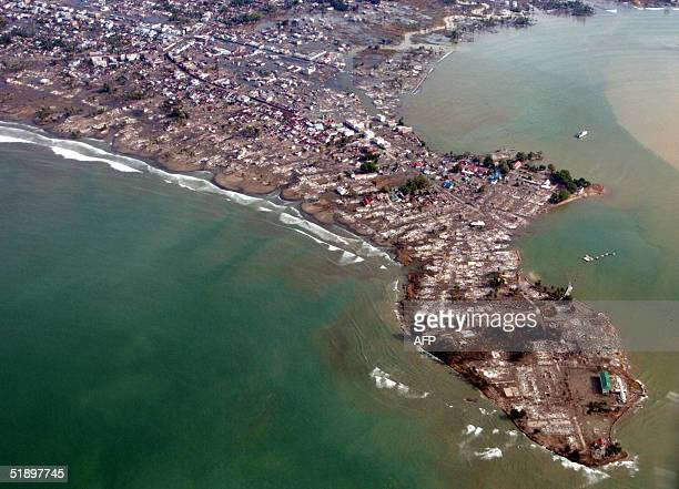 An overview shows Meulaboh city under water 28 December 2004 after a quake and tidal waves hit Aceh province early December 06 Efforts to rush relief...