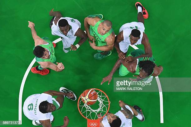 An overview shows Nigeria's power forward Ike Diogu Brazil's power forward Guilherme Giovannoni Nigeria's point guard Ben Uzoh Brazil's small forward...
