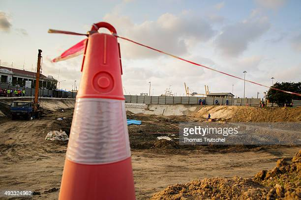 An overview shows the Construction Site of a building near the port of Beira for regulating the Rio Chiveve on September 27 2015 in Beira Mozambik