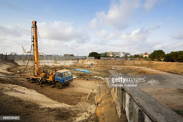 An overview shows the Construction Site of a building near the port of Beira for regulating the Rio Chiveve on September 27 2015 in Beira Mozambique
