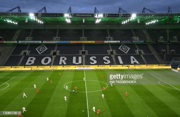 An overview shows the empty stadium during the German first division Bundesliga football match Borussia Moenchengladbach v 1 FC Cologne in...