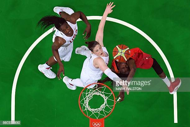 An overview shows USA's centre Sylvia Fowles USA's guard Lindsay Whalen and Spain's power forward Astou Ndour eye a rebound during a Women's Gold...
