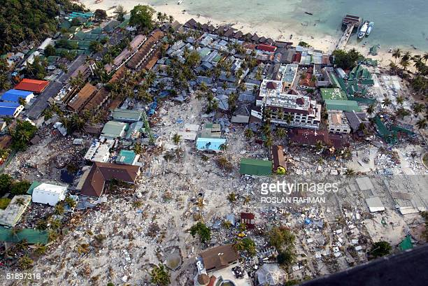 An overview taken from a helicopter shows the devastation on Phi Phi island in southern Thailand 28 December 2004 Nearly 1000 people were killed...
