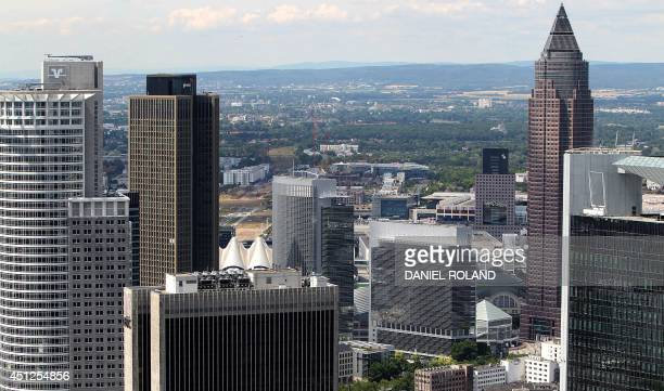 An overview taken from the top of Frankfurt's Maintower shows the headquarters of the DZ Bank AG the Messeturm sky scraper the Sparkassen Tower and...