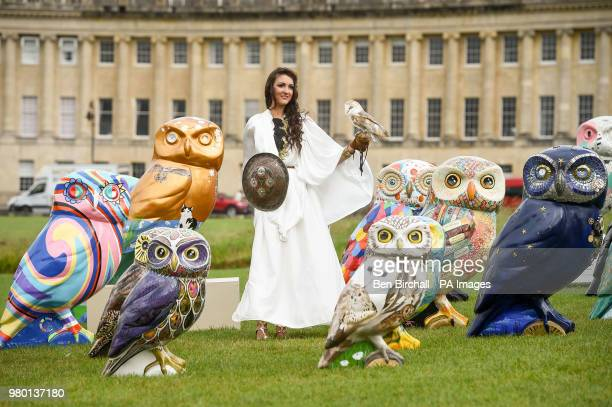"""An owls sits on the hand of a woman dressed as the Roman Goddess Minerva, often referred to as the """"owl of Athena"""" or the """"owl of..."""