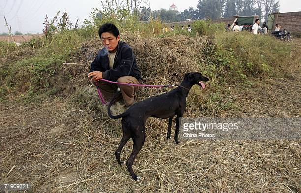 An owner and his greyhound wait for the start of a greyhound racing at Songzhuang Village of Tongzhou District on September 16 2006 in Beijing China...
