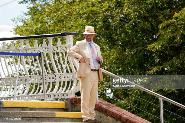 An owner wears a Panama hat at Goodwood Racecourse on July 28 2020 in Chichester England Owners are allowed to attend if they have a runner at the...