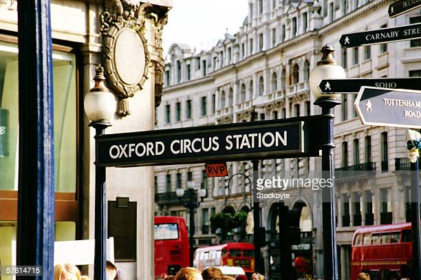 An 'oxford circus station' street sign