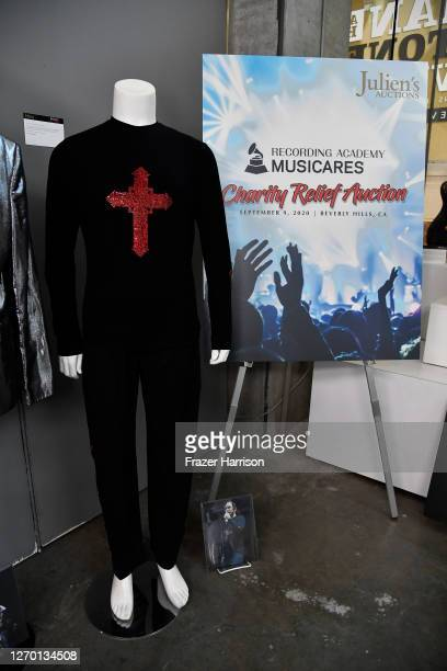 An Ozzy Osbourne stage worn outfit on display at Julien's Auctions Hosts MusiCares Charity Relief Press Preview at Julien's Auctions on September 01,...