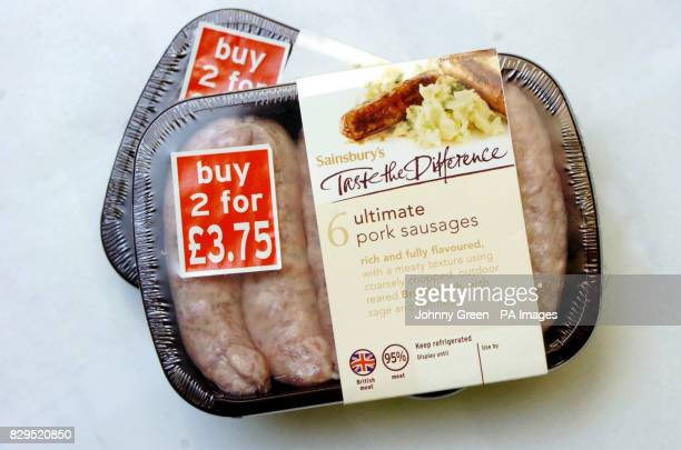 An packet of Sainsbury's 'Taste the Difference Ultimate Pork Sausages' similar to those removed from shelves Ten more products contaminated by the...