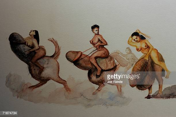 An painting titled 'three nude women racing on phallic steeds' is on display at the World Erotic Art Museum August 18 2006 in Miami Beach Florida The...