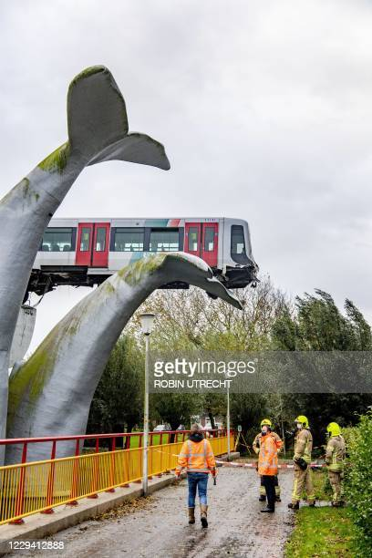 An photo taken in Spijkenisse, on November 2, 2020 shows a metro train that shot through a stop block at De Akkers metro station, without making any...