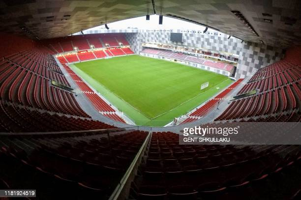 """An picture taken on November 2 shows the pitch of the new National Football Stadium of Tirana """"Air Albania"""", which will host its first inaugural..."""