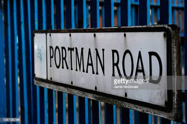 An Portman Road sign is seen outside Portman Road home of Ipswich Town Football Club on March 2nd 2011 in London England