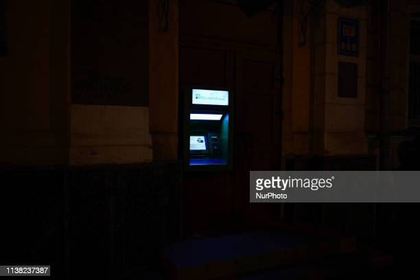 An PrivatBank ATM is seen in Kyiv Ukraine on April 18 2019 On Sunday Ukrainians will vote in the second and final round of the Presidential elections...