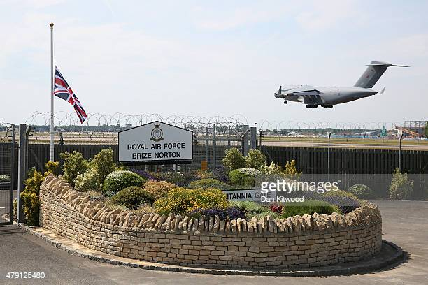 An RAF C17 aircraft arrives at RAF Brize Norton carrying the victims of last Friday's terrorist attack in Tunisia on July 1 2015 in Brize Norton...