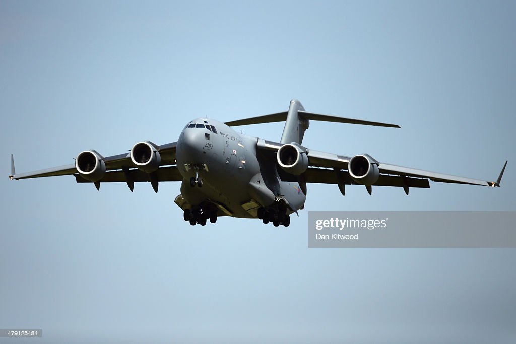 An RAF C17 aircraft arrives at RAF Brize Norton carrying the victims of last Friday's terrorist attack in Tunisia, on July 1, 2015 in Brize Norton, England. British nationals Adrian Evans, Charles Evans, Joel Richards, Carly Lovett, Stephen Mellor, John Stollery, and Denis and Elaine Thwaites are the first of the victims of last week's terror attack to be repatriated.