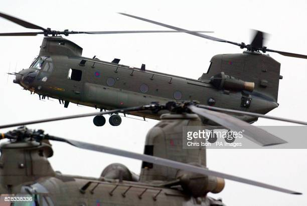 An RAF Chinook helicopter from 18 Squadron comes into land at RAF Odiham in Hampshire Tuesday February 7 2006 Three of the heavy lift helicopters are...