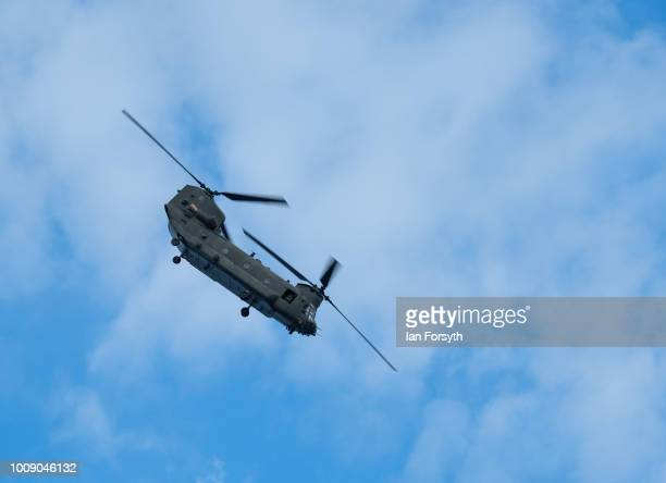 An RAF Chinook helicopter performs during the 30th Sunderland International Air show on July 28 2018 in Sunderland England Held over three days on...
