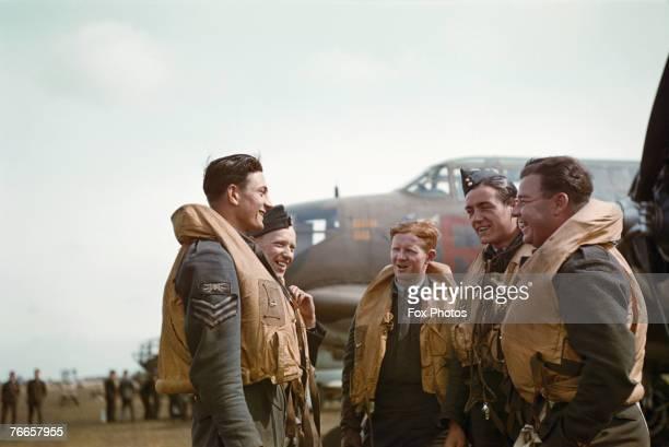 An RAF crew with their American Douglas Boston light bomber circa 1943