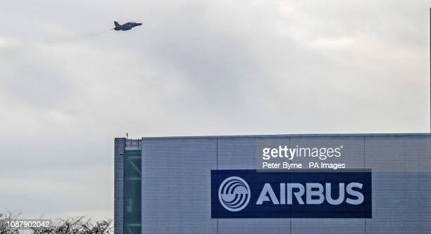 An RAF Hawk trainer jet flies over the Airbus wing assembly factory in Broughton North Wales The head of Airbus has torn into the Government's...