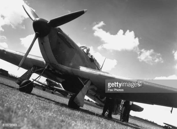 An RAF Hawker Hurricane at Hawkinge Aerodrome Kent 1940