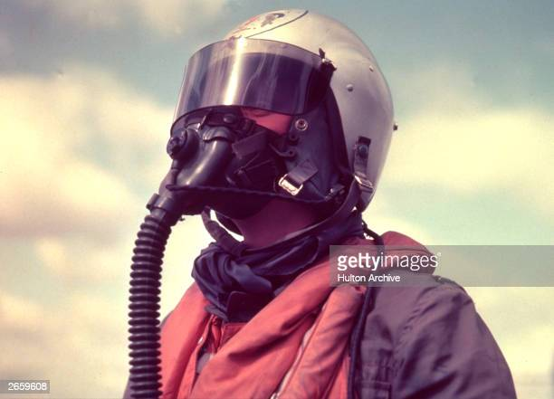 An RAF pilot wearing a high altitude helmet 43 Squadron were the first to be equipped with jet fighters