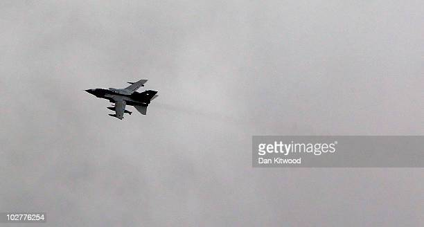 An RAF Tornado warplane is deployed to search for Raoul Moat on July 9, 2010 over Rothbury, England. Police continue to search the village of...